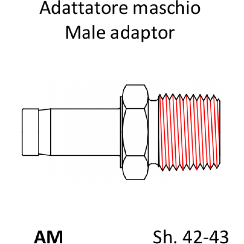 Фитинг адаптер AM для труб - наружная резьба