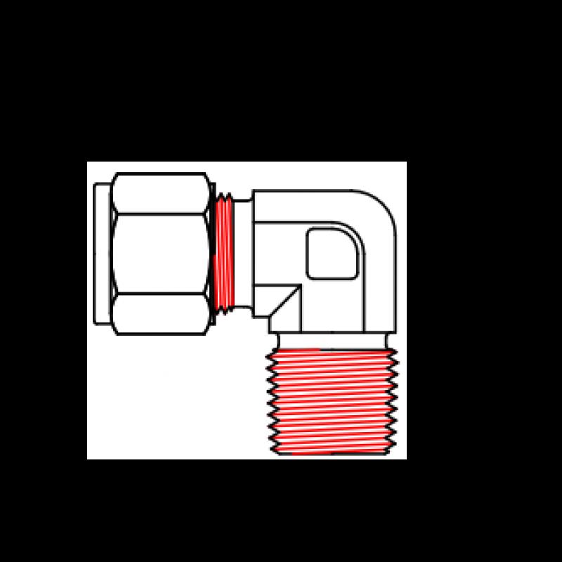 Угловой фитинг EM - наружная резьба